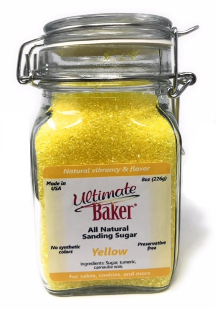 Ultimate Baker Natural Sanding Sugar (Large Crystals) Yellow Shine (1x8oz Glass)
