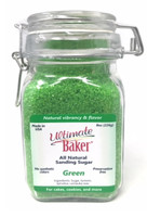 Ultimate Baker Natural Sanding Sugar (Med. Crystals) Green (1x8oz Glass)