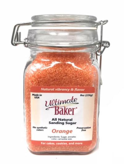 Ultimate Baker Natural Sanding Sugar (Med. Crystals) Orange (1x8oz Glass)