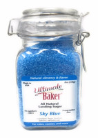 Ultimate Baker Natural Sanding Sugar (Med. Crystals) Sky Blue (1x8oz Glass)
