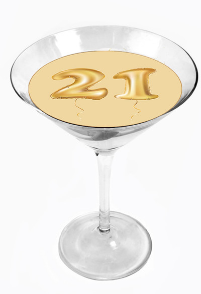 Snowy River Cocktail Toppers Happy 21st (1x6Pack)