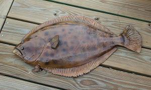 Flounder 31 inch half mount fiberglass fish replica