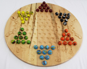 Deluxe Chinese Checkers and Aggravation / Wahoo Game Boulder sized marbles in Ambrosia Maple