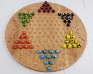 Deluxe Chinese Checkers and Aggravation / Wahoo Game Boulder sized marbles in Oak