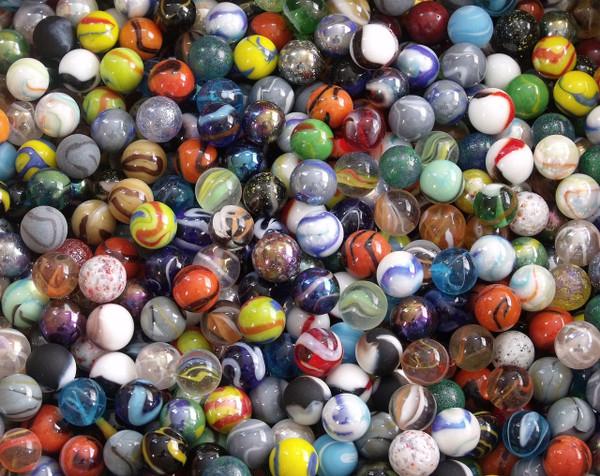 "50 Mixed Target Marbles 5/8"" (16mm) diameter"