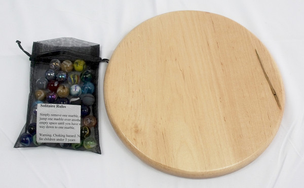 Large Round Marble Solitaire - Ambrosia/Wormy Maple