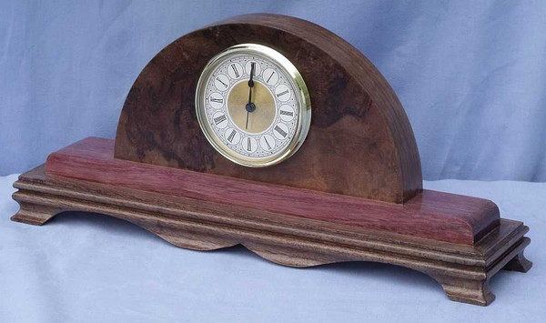 Walnut and Purple heart Mantel Clock