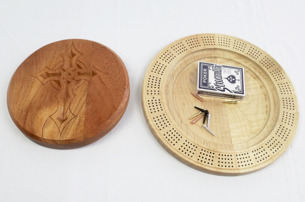 Four Player Cribbage Board Gothic Cross Mahogany and Curly Maple