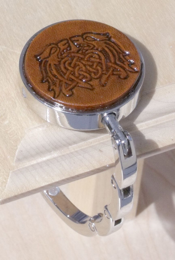 Collapsible Purse Hook Celtic Knot 9 Leather Tan