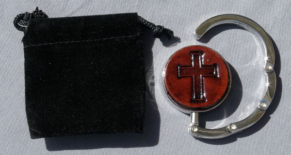 Collapsible Purse Hook Cross Dark Leather