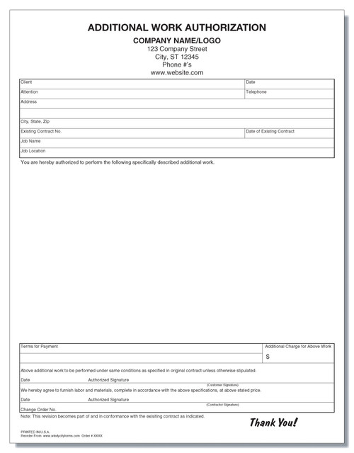 Additional Work Authorization Form - Windy City Forms