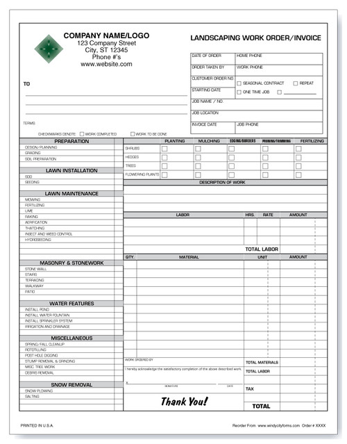 Lawn Maintenance Invoice - Windy City Forms