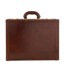 Chiarugi Italian Leather Traditional Attache Case - Brown