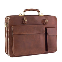 Chiarugi Top Zip Italian Leather Briefcase - Brown