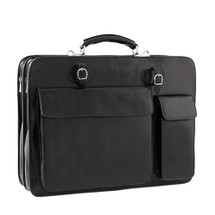Chiarugi Top Zip Italian Leather Briefcase - Black