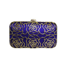 Anna Cecere Italian Designed Rosa Jewel Clutch Evening Bag - Blue