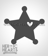 5pt Star Badge Heart Decal