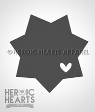 7pt Star Badge Heart Decal
