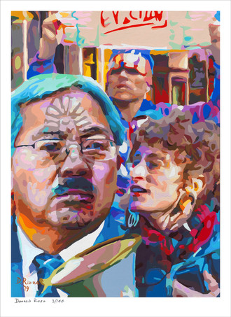 Shop for Eviction notice a mental health portrait by San Francisco artist Donald Rizzo. Abstract verism in kaleidoscopic visions of vibrant colors