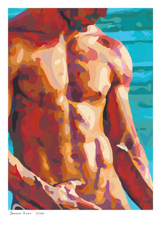 """Shop for Gay Male Art ""Seaside"" a limited edition print by San Francisco artist Donald Rizzo. Donald Rizzo paints kaleidoscopic visions of vibrant colors."