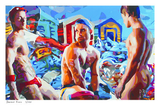 "Shop for Gay Male Art ""who let the dogs out"" a limited edition print by San Francisco artist Donald Rizzo. Donald Rizzo paints kaleidoscopic visions of vibrant colors."