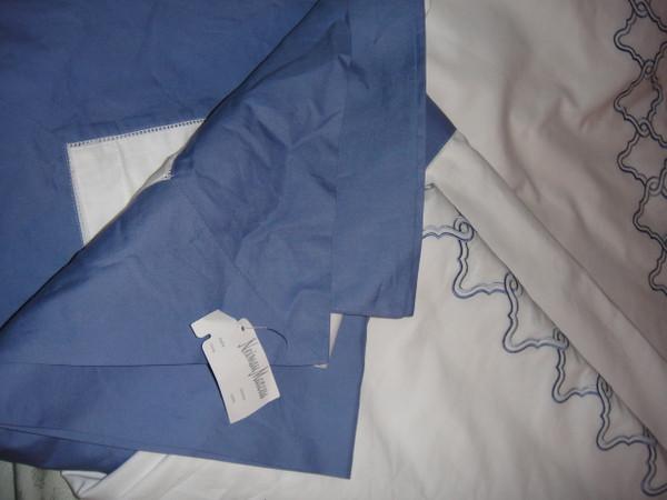 Sferra Quarto Queen Duvet Cover Set White Cornflower Blue