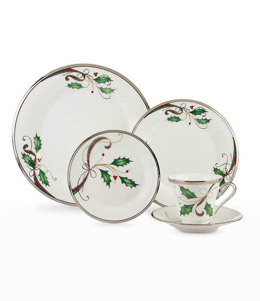 Lenox Holiday Nouveau Platinum White Christmas China 42pc
