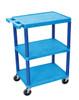 Blue 3 Shelves Plastic Cart