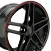 """18"""" Fits Chevrolet - Corvette C6 Z06 Wheel - Black Red Banding 18x10.5"""
