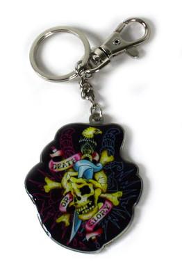 Ed Hardy Neon Skull Chrome Keychain