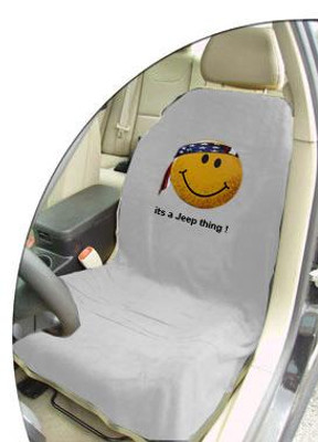 Jeep Grey Smiley Face Car Seat Cover Towel