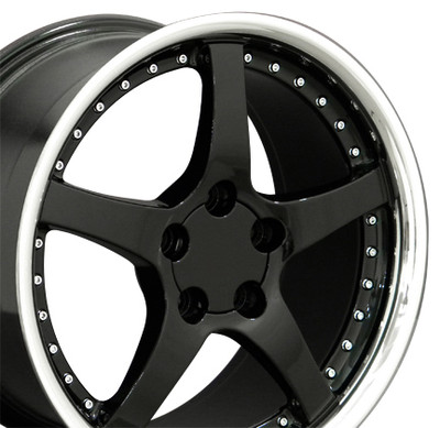 "18"" Fits Camaro Corvette C5 Deep Dish Wheel Black / Rivets 18x9.5"