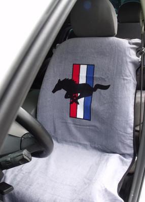 Mustang Gray Car Seat Cover Towel