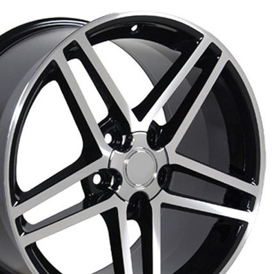 "18"" Fits Camaro Corvette C6 Z06 Wheel Black with a Machined Face"