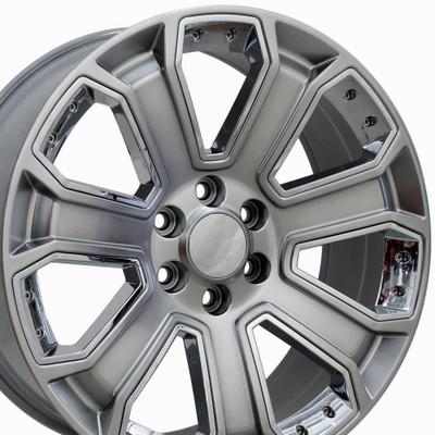 "22"" Fits Chevrolet - Silverado Wheel - Hyper Black with Chrome Inserts 22x9"