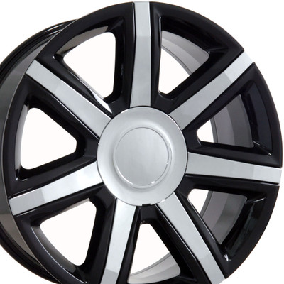 "22"" Fits Cadillac - Escalade Wheel - Black with Chrome Insert 22x9"