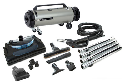 Professional Evolution with Electric Power Nozzle Full-Size Canister Vac ADM4PNHSNBFVT Satin Nickel / Black Finish