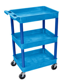 Blue 3 Shelf Tub Cart