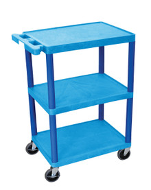 Blue 3 Shelves Plastic Cart