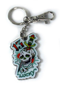 Ed Hardy Lucky 13 Chrome Keychain
