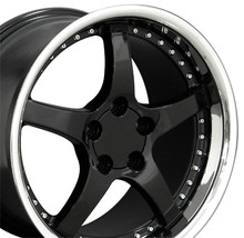 "18"" Fits Camaro Corvette C5 Deep Dish Wheel Black / Rivets 18x10.5"