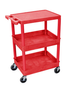 Red 3 Shelf Tub Cart