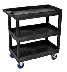 18 x 32 Heavy Duty Black Tub Cart 3 Shelves Model EC111HD-B