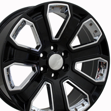 "20"" Fits Chevrolet - Silverado Wheel - Black with Chrome Inserts 20x8.5"