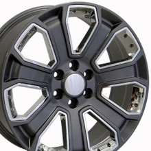 "22"" Fits Chevrolet - Silverado Wheel - Gunmetal with Chrome Inserts 22x9"