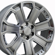 "22"" Fits Chevrolet - Silverado Wheel - Hyper Black with Chrome Inserts 22x9"