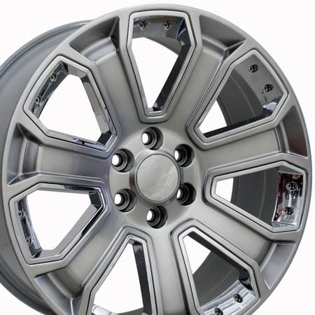 "20"" Fits Chevrolet - Silverado Wheel - Hyper Black with Chrome Inserts 20x8.5"