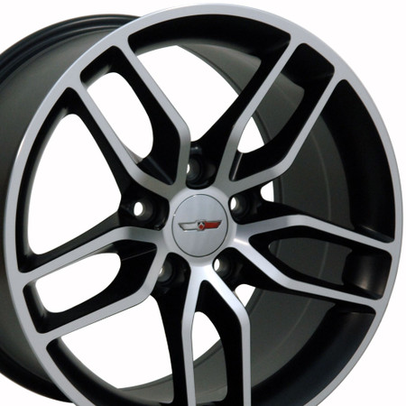 "18"" Fits Chevrolet - Corvette Stingray Wheel - Matte Black with a Machined Face 18x10.5"