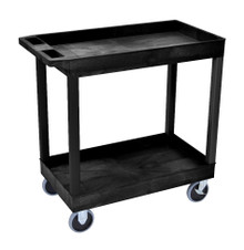 18 x 32 Heavy Duty Black Tub Cart 2 Shelves Model EC11HD-B