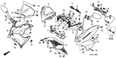 Genuine Honda Varadero 125 2011 Right Front Side (Wl) *Type2* (Type2 ) Cowl Set Part 8: 64220KPC680ZB (1227174)
